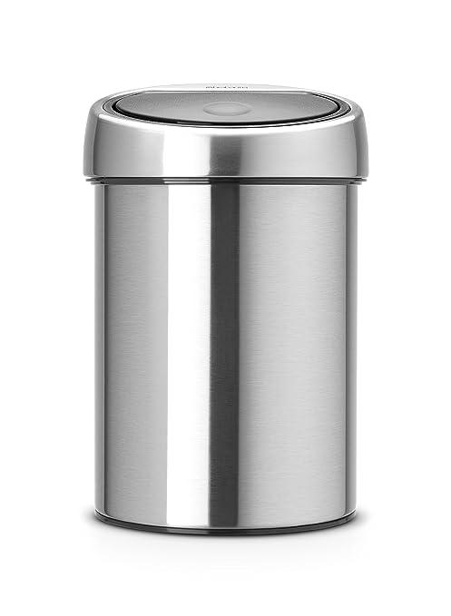 Brabantia Touch Bin - Cubo de Basura, 3 litros, Cubo Interior de plástico extraíble, Acero Mate