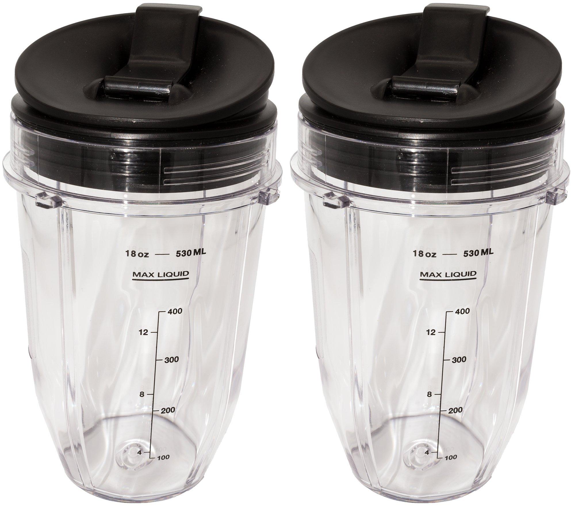 Blendin 2 Pack Small 18 Ounce Cup with Sip N Seal Flip Lids, Fits Nutri Ninja Auto-iQ 1000w Series Blenders