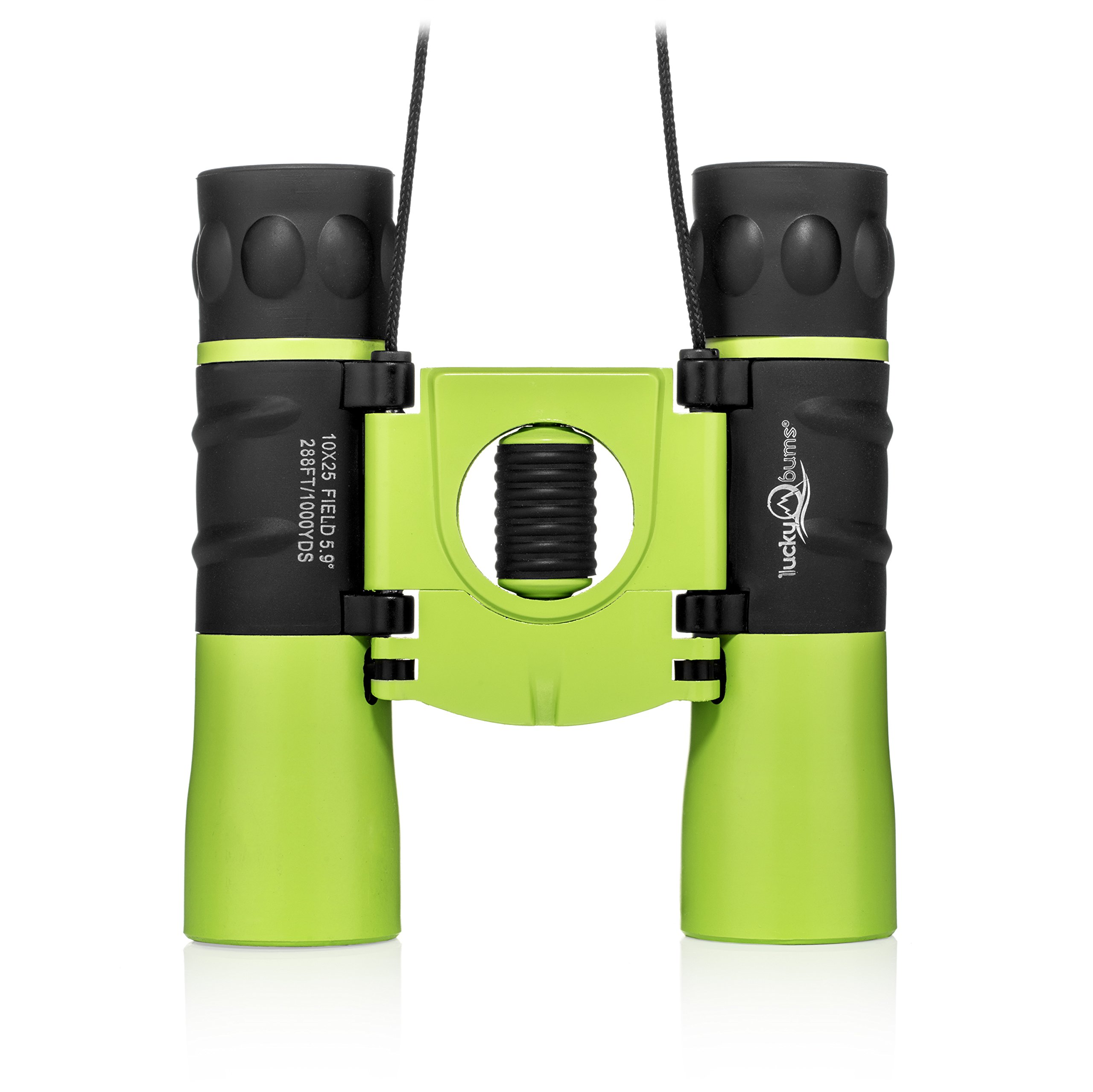 Lucky Bums Youth Kids 10x25 Objective Power Lens Scout Bino Compact Binoculars, Kelly Green by Lucky Bums