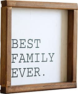 LIVDUCOT Best Family Ever Wood Wall Decor Wooden Framed Modern Farmhouse Wall Hanging Art Rustic Wall Art Signs with Family Quote 8 x 8 inches