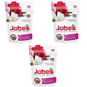 Jobe's 100046761 Azalea, Camellia & Rhododendron Fertilizer Spikes 9-8-7, 3 Pack (10 Spikes per Pack)