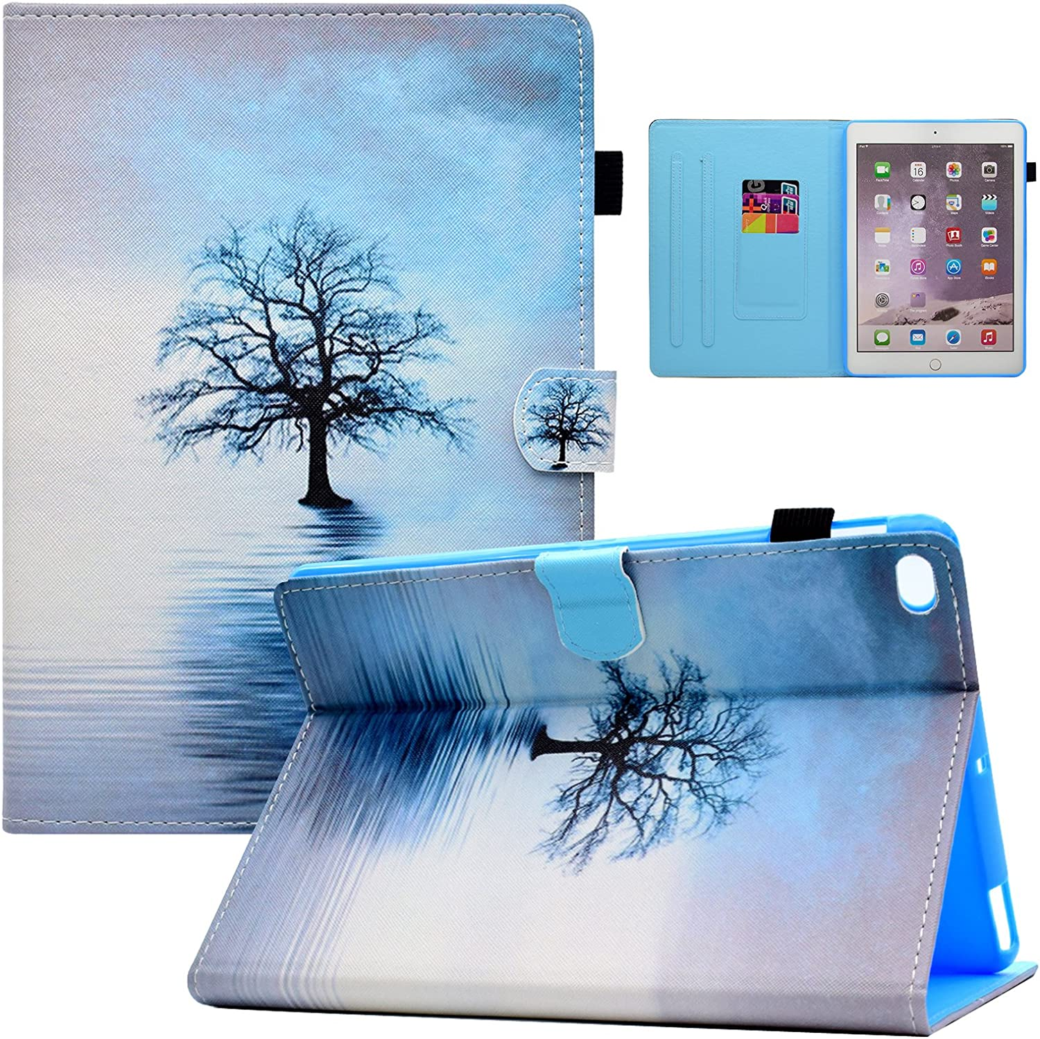Dteck iPad 9.7 inch 2018 2017 / iPad Air 2 / iPad Air Case,Multi-Angle Viewing Stand Protective Folio Cover Smart Shell with Auto Sleep Wake for Apple iPad 2018/2017 9.7 inch,iPad Air 1/2, Water Tree