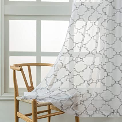 Moroccan Embroidered Sheer Curtains Bedroom White Voile Window Drapes  Living Room 52 X 96 inch Rod Pocket Set of 2 Curtain Panels White