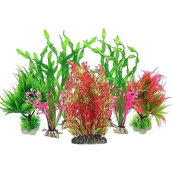 Plantas acuáticas artificiales, PietyPet 7 piezas Plantas grandes de acuario Decoraciones plásticas del tanque de