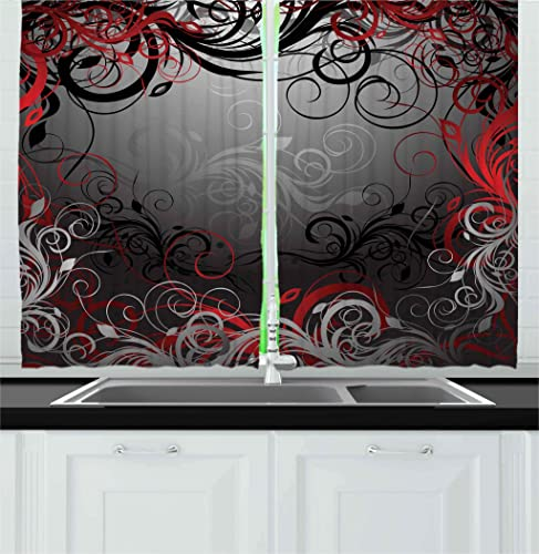Ambesonne Abstract Kitchen Curtains, Mystic Forest Floral Swirls Leaves Nature Fading Ombre Effect, Window Drapes 2 Panel Set for Kitchen Cafe Decor, 55 X 39 , Charcoal Grey Pale Ruby