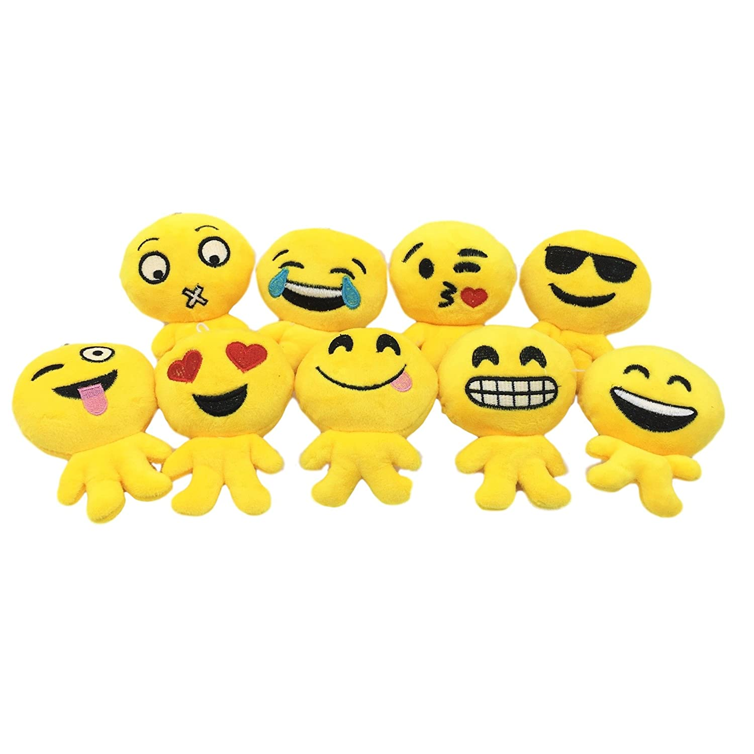 Amazon.com: Qs Emoji 24 Pack Poo face Plush Pillow KeyChain ...