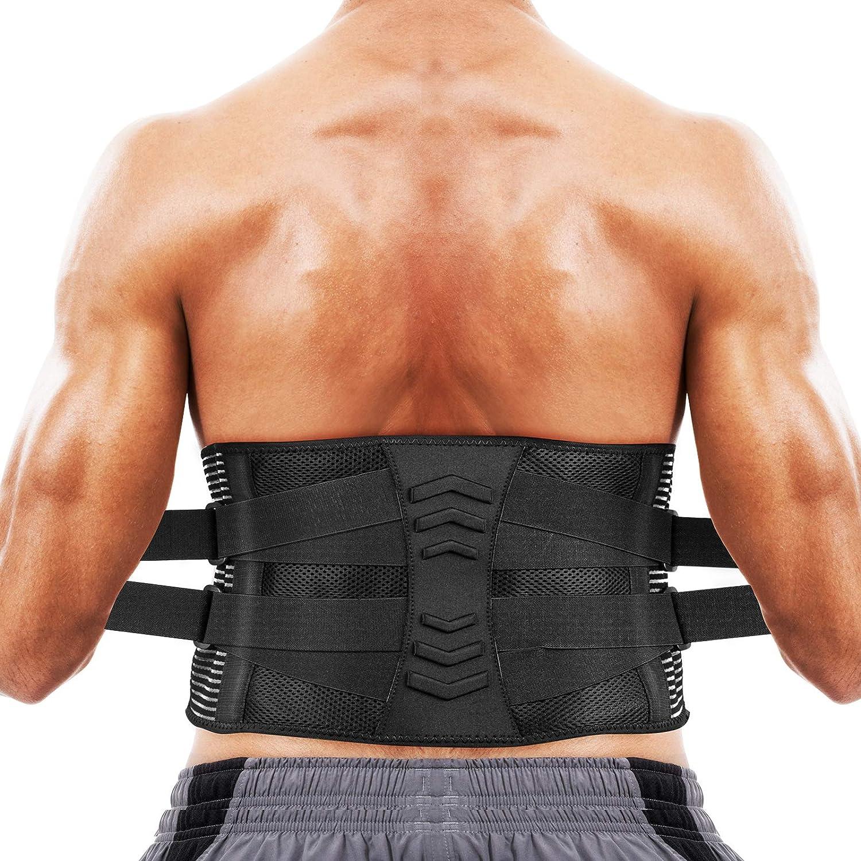 AGPTEK Faja Lumbar para Espalda, Cinturón de Soporte Lumbar Aliviar Dolor y Lesiones, Ciática, Faja Lumbar Deportiva para Hombre y Mujer, Negro