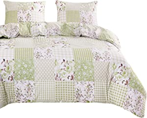Wake In Cloud - Patchwork Comforter Set, Green Floral Flowers Botanical Plant Geometric Motif Pattern Printed, Soft Microfiber Bedding (3pcs, King Size)