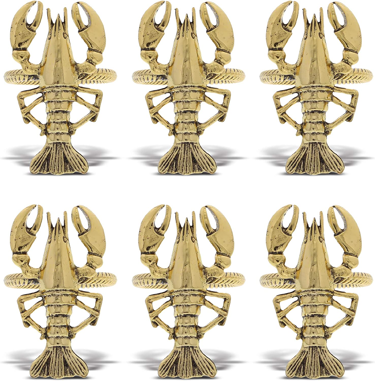KitchaBon Gold Napkin Rings Set of 6, Table Setting Centerpiece Decor Napkins Ring Holders, Napkin Ring Packs for Family Holiday Dinner, Fancy Banquet & Wedding Decorations for Reception- Lobster