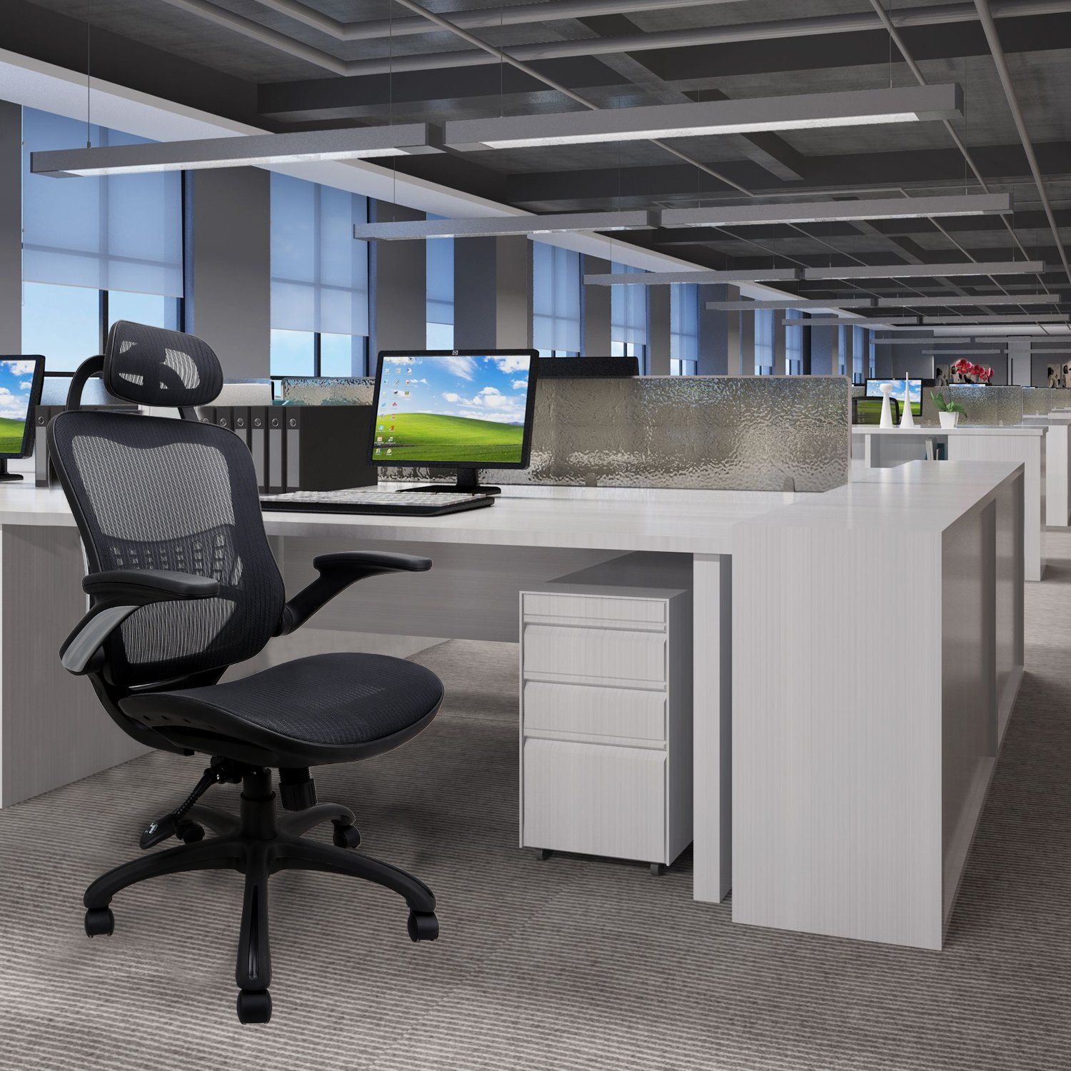Komene Ergonomic Chairs for Office &Home: Passed BIFMA/SGS Weight Support Over 300Ibs,The Most Comfortable Mesh Cushion&High Back-Adjustable Headrest Backrest,Flip-up Armrests,360-Degree Swivel Chairs by Komene (Image #6)
