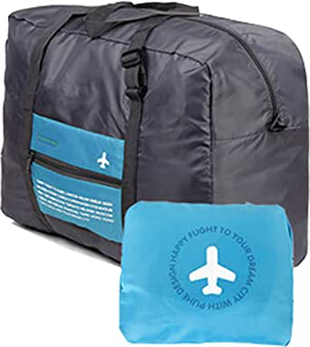 Waterproof Foldable Super Lightweight Large Capacity Storage Luggage Bag for Travel Camping, Sports Gear or Gym, Can Attach on the Handle of Suitcase, to Travel Freely Around Universe (Blue)