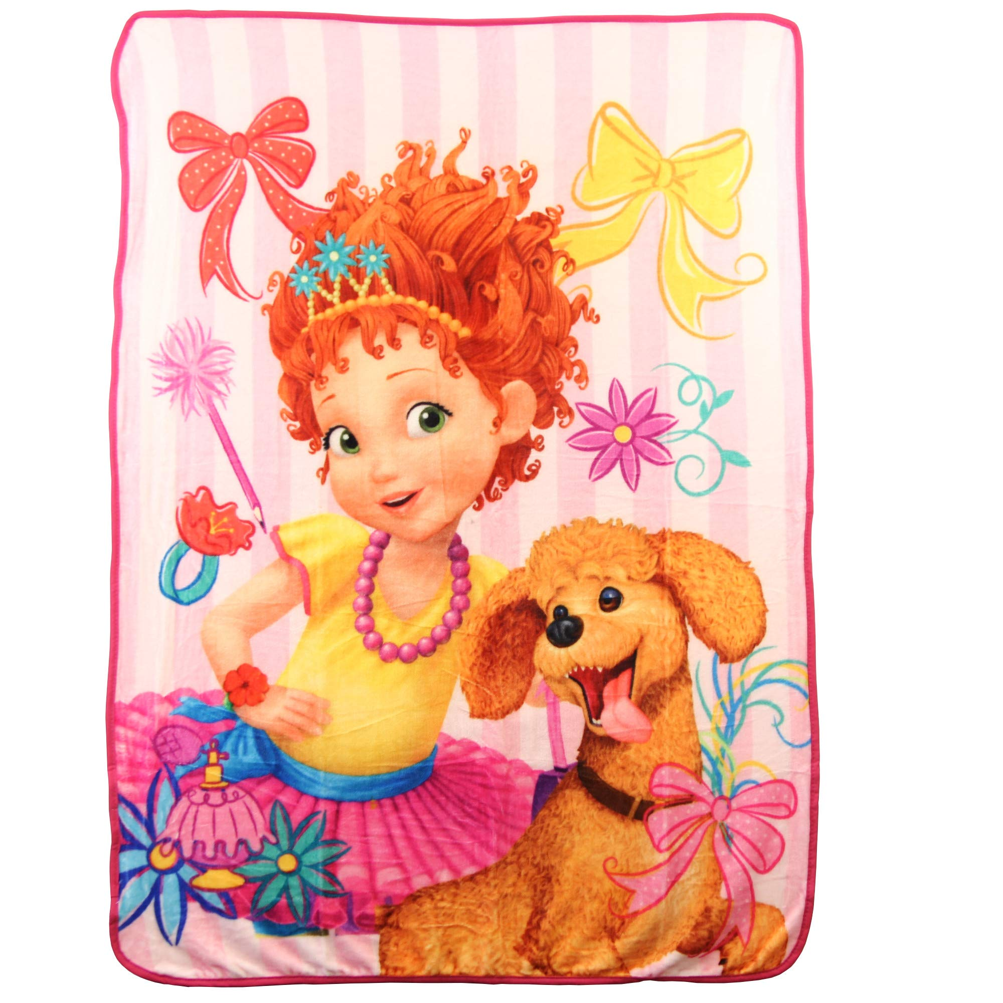 Northwest Kid's Colorful Character Micro Raschel Throw Blanket 46'' x 60'' (Fancy Nancy & Frenchy)