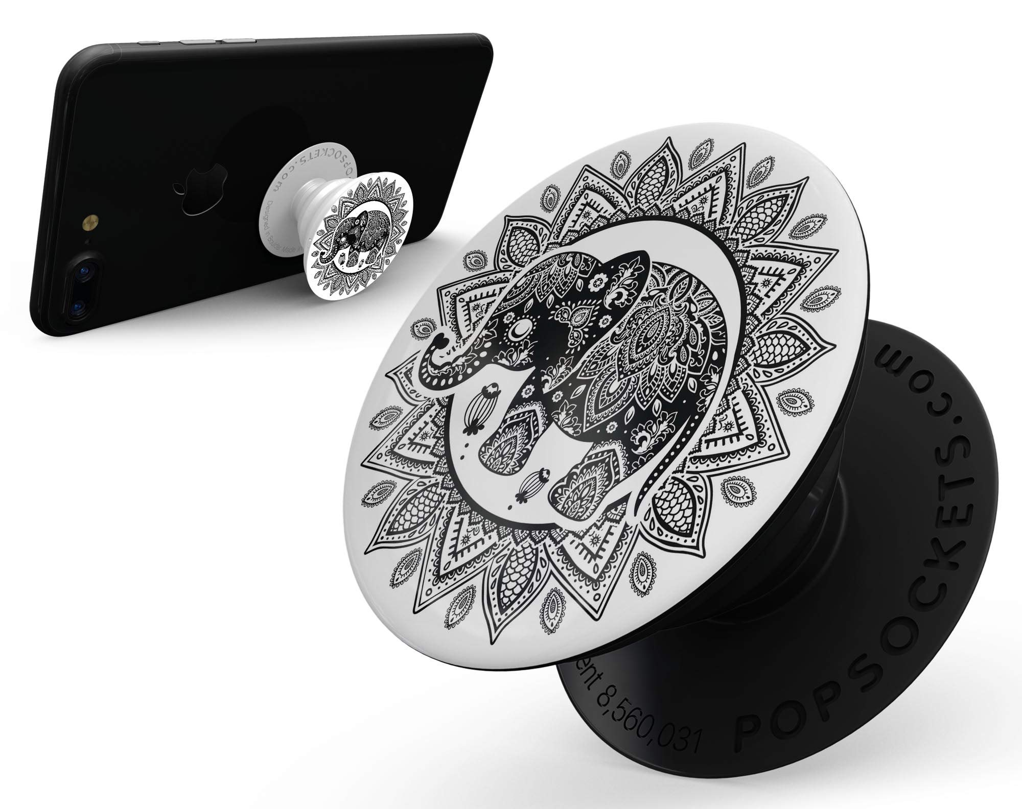 Indian Mandala Elephant - DesignSkinz Premium Decal Sticker Skin-Kit for PopSockets Smartphone Extendable Grip & Stand by iiRov (Image #2)