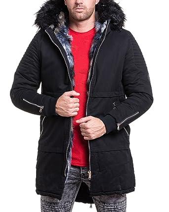 sans précédent plus tard mignonne PROJECT X - Parka Fourrure Homme Longue Noire Fashion ...