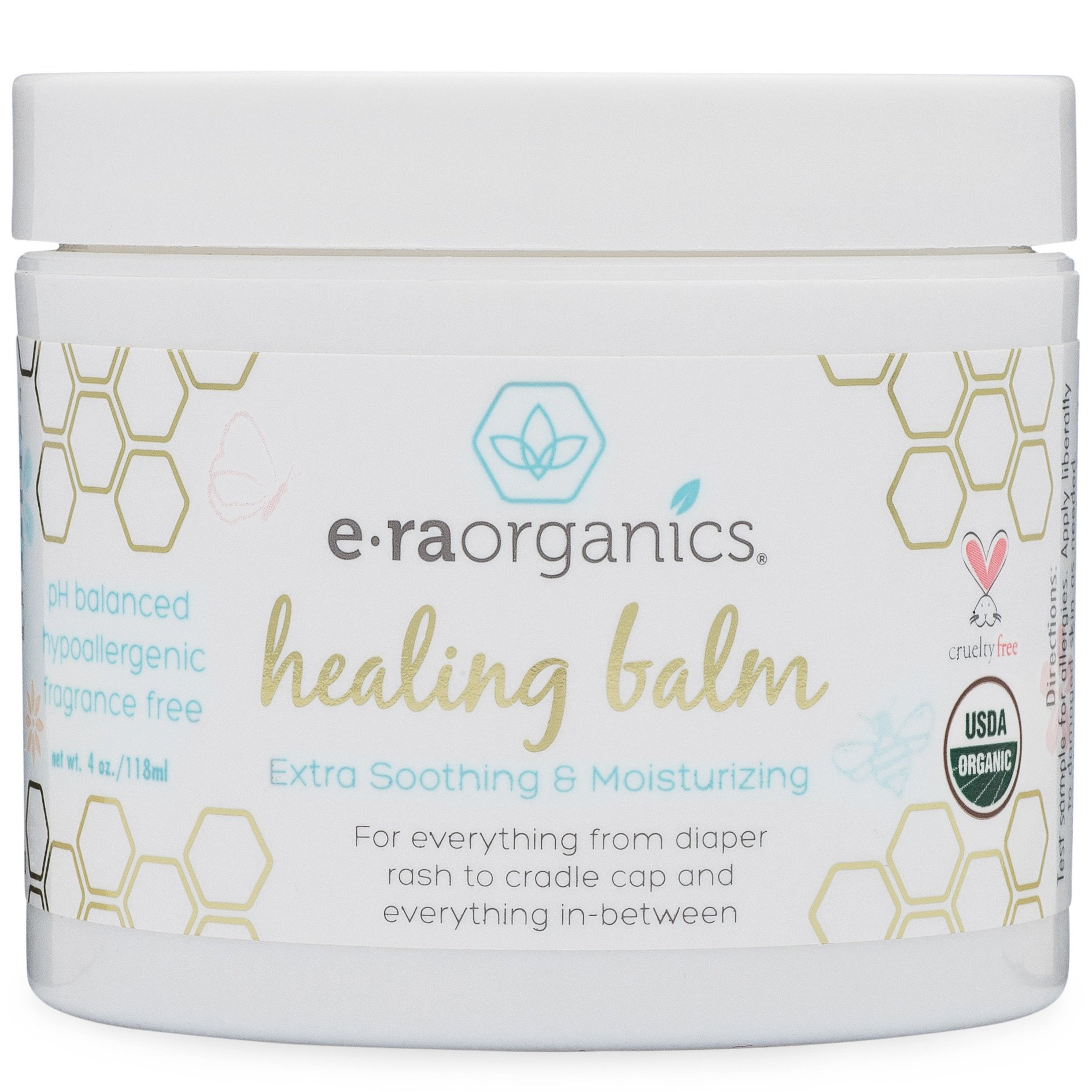 Healing Ointment for Babies 4oz. USDA Certified Organic Natural Healing Cream for Baby Eczema, Cradle Cap (Infant Seborrheic Dermatitis), Chapped Nose, Rashes, Hives & More