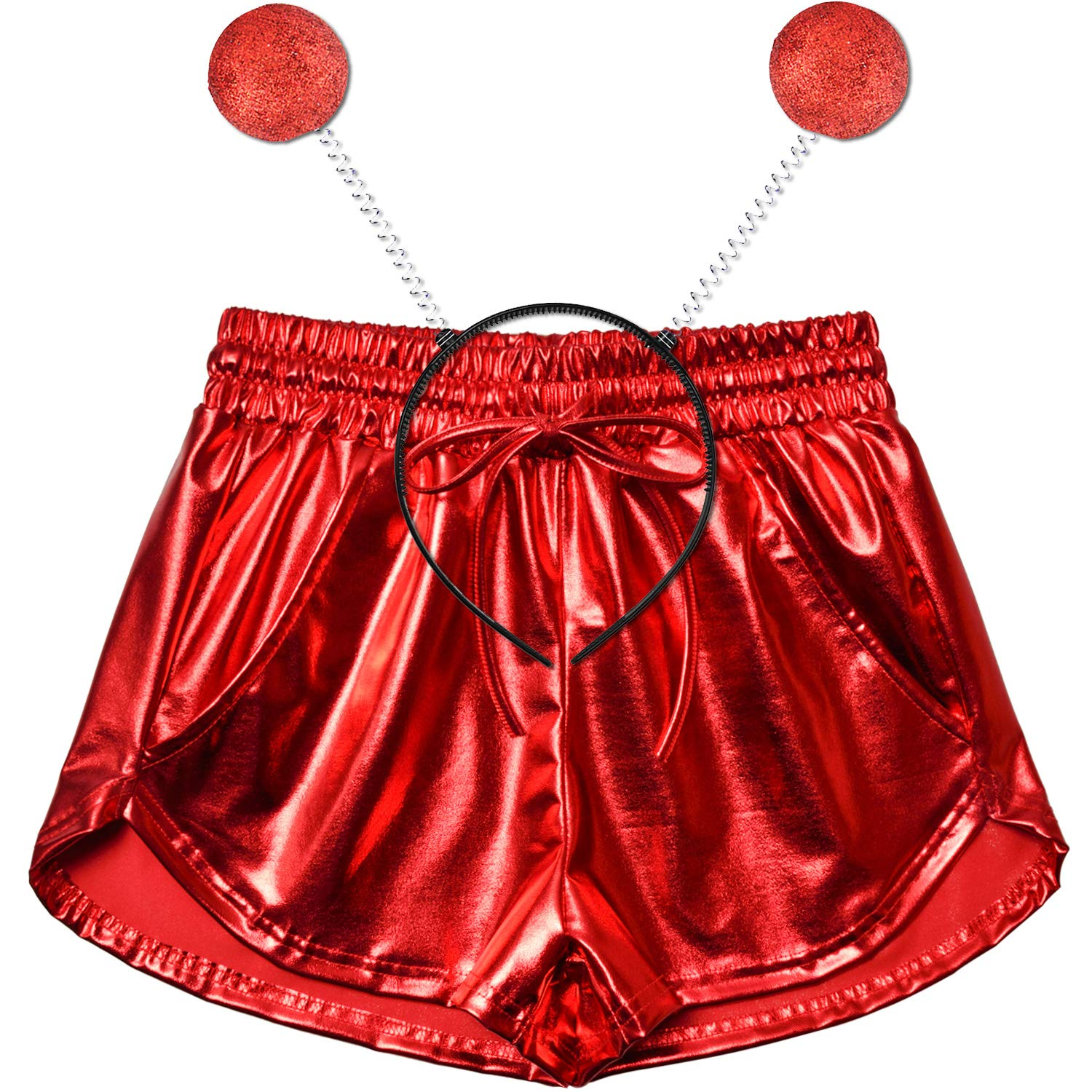 Red Perfashion Women's Metallic Shorts Summer Sparkly Hot Yoga Outfit Shiny Short Pants