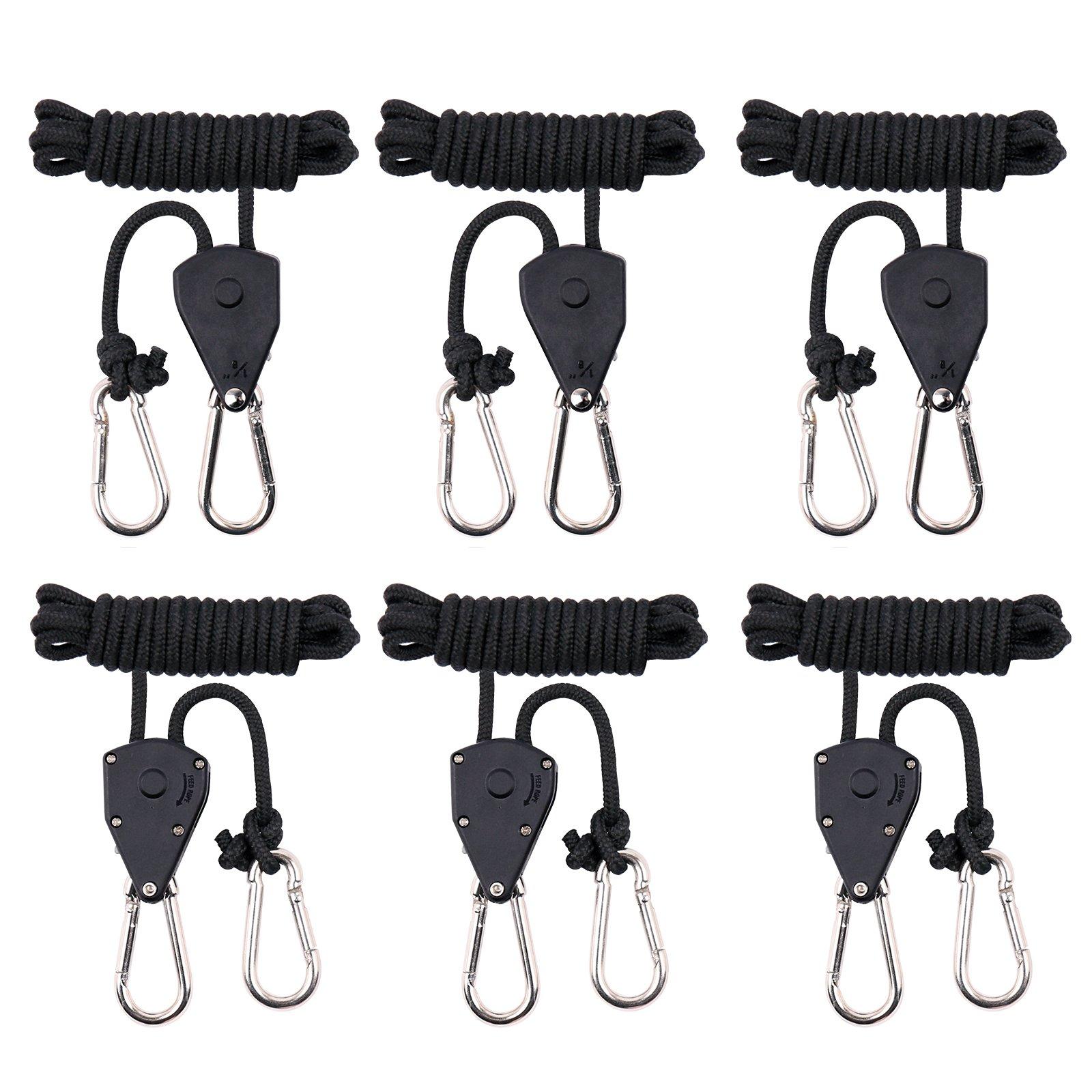 "MAXSISUN 3-Pair 1/8"" Adjustable Heavy Duty Rope Clip Hanger, Grow Light Ratchet Hanger, 150lbs Weight Capacity"