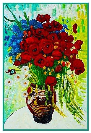 Jarrón de amapolas margaritas por Vincent van Gogh de punto de cruz, diseño de PA