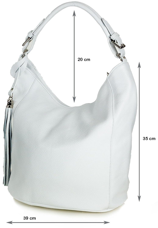 55f4bce385b80 Beuteltasche Leder weiß - XL Damen Schultertasche Handtasche aus Echtem  Leder groß (39 x 35 x 21 cm L x H x B)  Amazon.de  Koffer