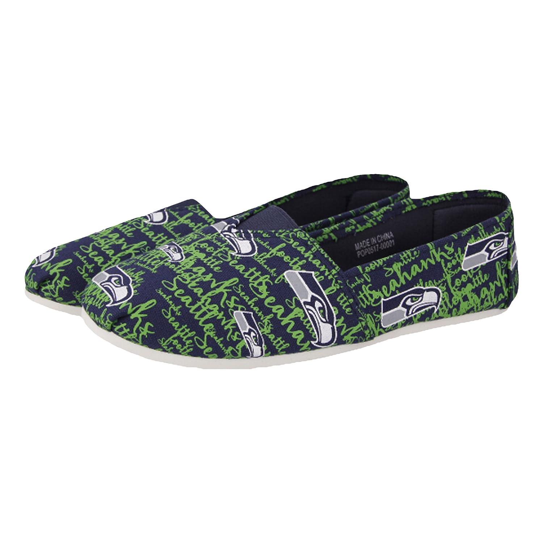 NFLチームロゴレディーススクリプトキャンバスSlip On Flats靴 B074Y7NBHJ Medium|シアトルシーホークス シアトルシーホークス Medium