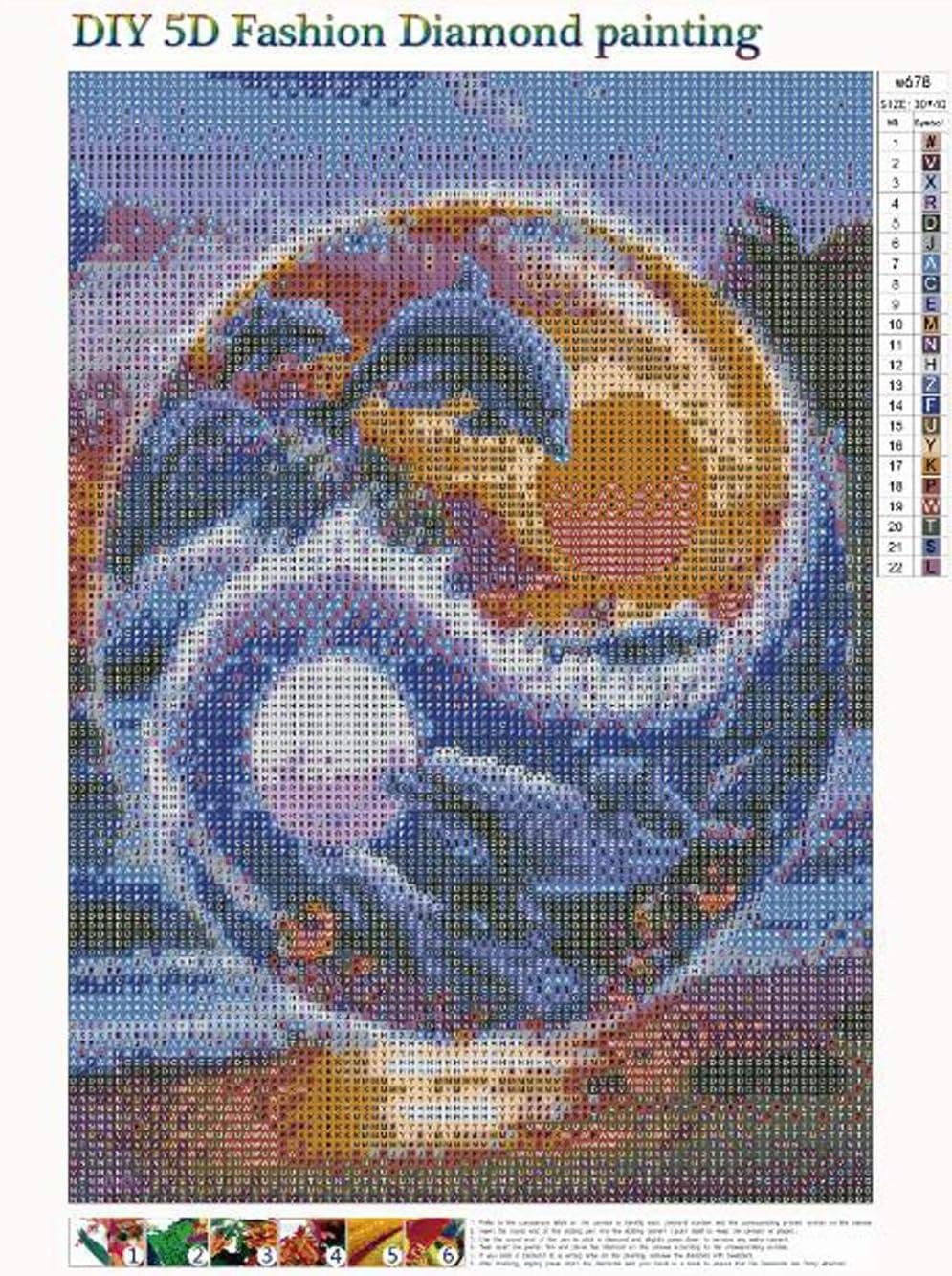 MXJSUA 5D DIY Diamant Peinture par Num/éro Kit Fulll Ronde Perle Perle Image Fournitures Arts Artisanat Wall Sticker D/écor Soleil et Lune Dauphin 30x40 cm