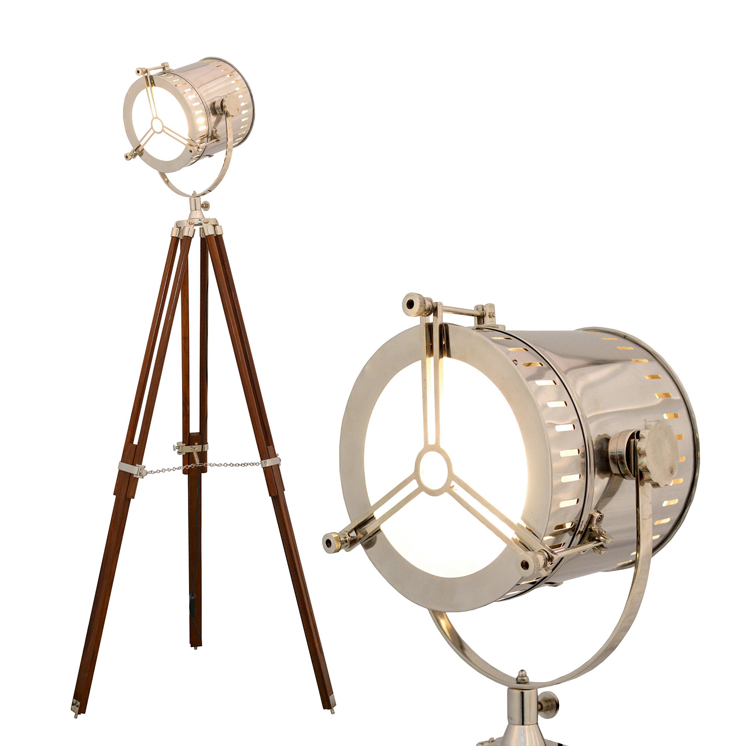 Brass Nautical Hollywood Tripod Floor Lamp - 1940's Hand Made Replica