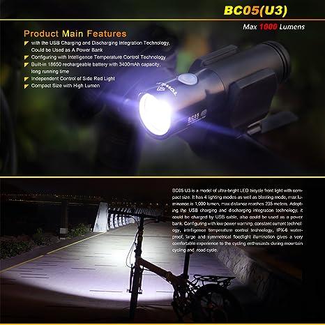 TOWILD BC05 1000LM CREE XM-L2 U3 LED USB Charging Bike Head Light Flashlight