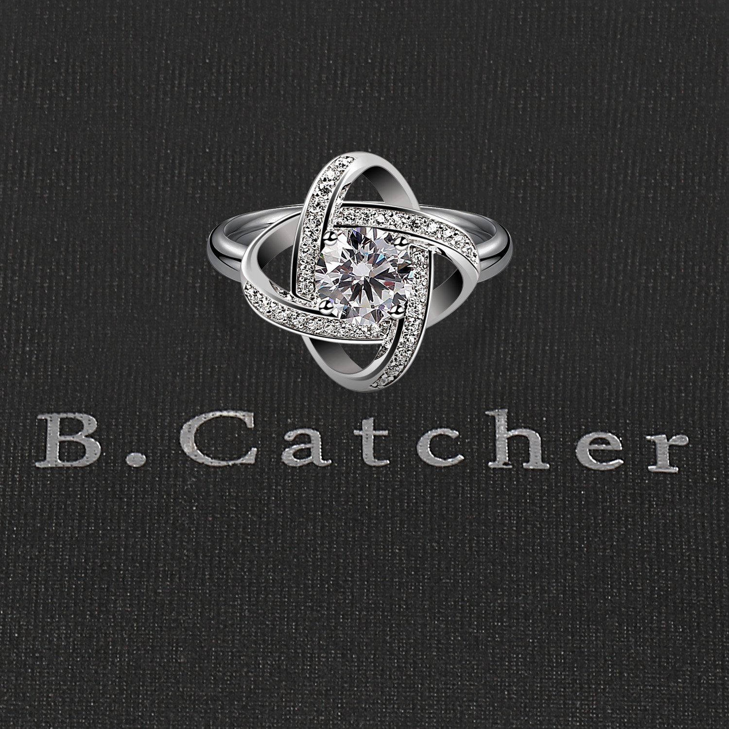 B.Catcher Women's Ring Adjustable 925 Sterling Silver Cubic Zirconia Valentine's Gift for Her by B.Catcher (Image #4)