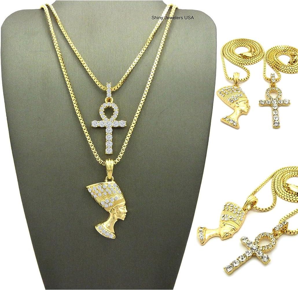 AND FREE CHAIN ankh necklace Nefertiti necklace,2 piece set women ankh Nefertiti necklace mini ankh men ankh, Sale ankh necklace