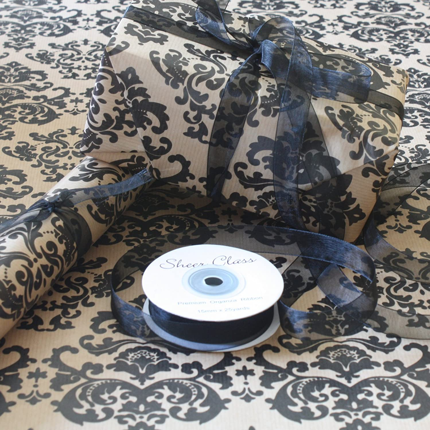 Natural Kraft Black Baroque Patterned Gift Wrapping Paper 10 metre roll with Black Organza Ribbon Wrappings and Bows