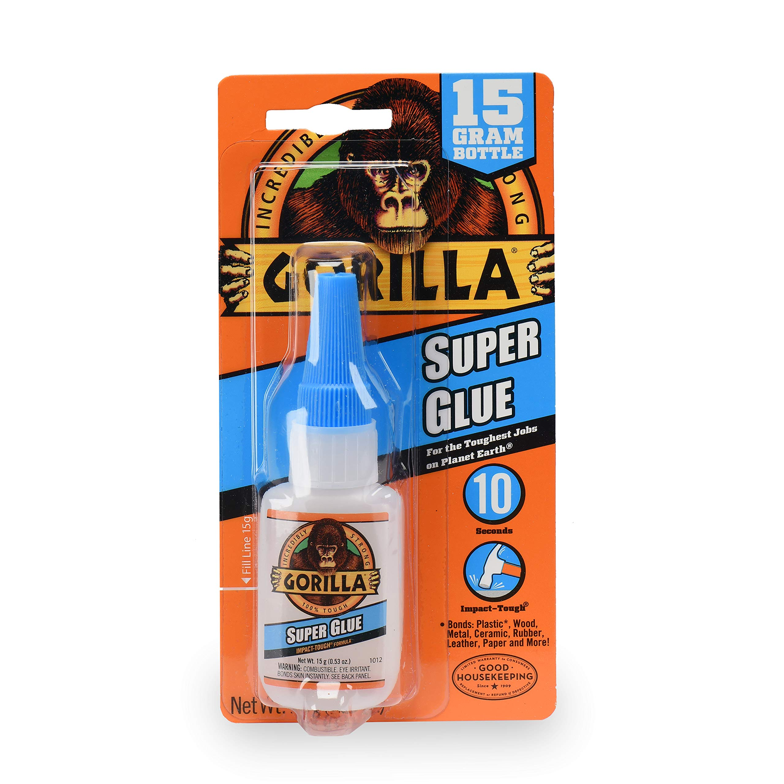 Gorilla Super Glue 15 G 1 Pack Versatile Bonds Plastic