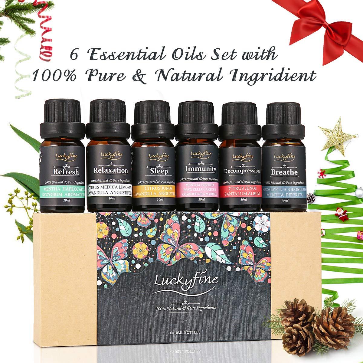 Luckyfine Aceites Esenciales para Humidificador, 100% Natural, Perfume de Aromaterapia - Ayuda a Dormir, Calma el Estado de Ánimo - Regalo Ideal para Todas ...
