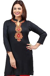 Women Indian Short Kurti Tunic Kurta Shirt Dress Thread Embroidery Blue BD406