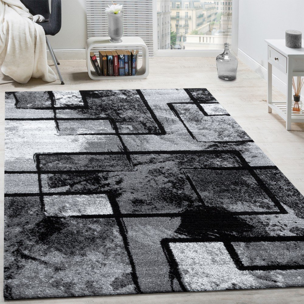 Designer Rug Modern Short-pile Abstract Paint Effect Black Grey Charcoal, Size:60x100 cm Paco Home