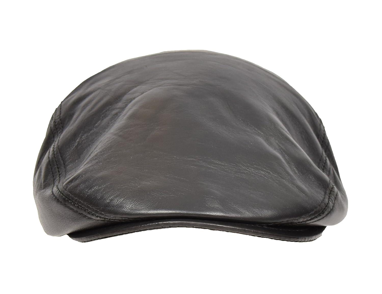 2e8cc48afaf96 Genuine Black Leather Flat Cap English Granddad Hat Baker-boy Classic Cap -  Arthur  Amazon.co.uk  Clothing