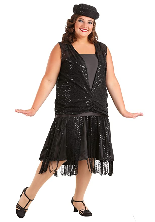 Roaring 20s Costumes- Flapper Costumes, Gangster Costumes Womens Plus Size Black Satin Jazz Flapper Costume $44.99 AT vintagedancer.com
