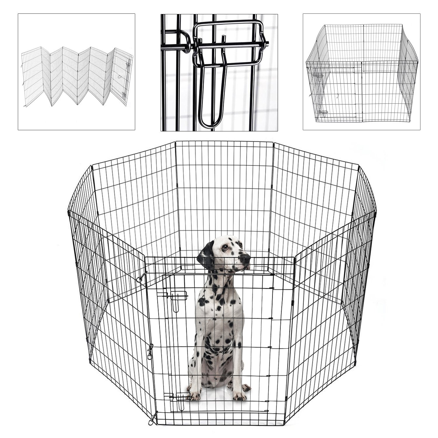 Koval Inc. Dog Playpen Kennel Exercise Fence 8-Panel (Black 36''Hx24''W) by KOVAL INC.