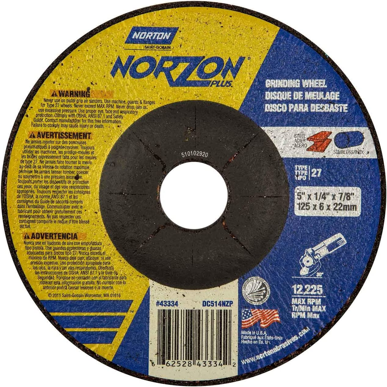 25 pack Norton 66252843334 5x1//4x7//8 in 20 Grit NorZon Plus Depress Center Wheels Type 27
