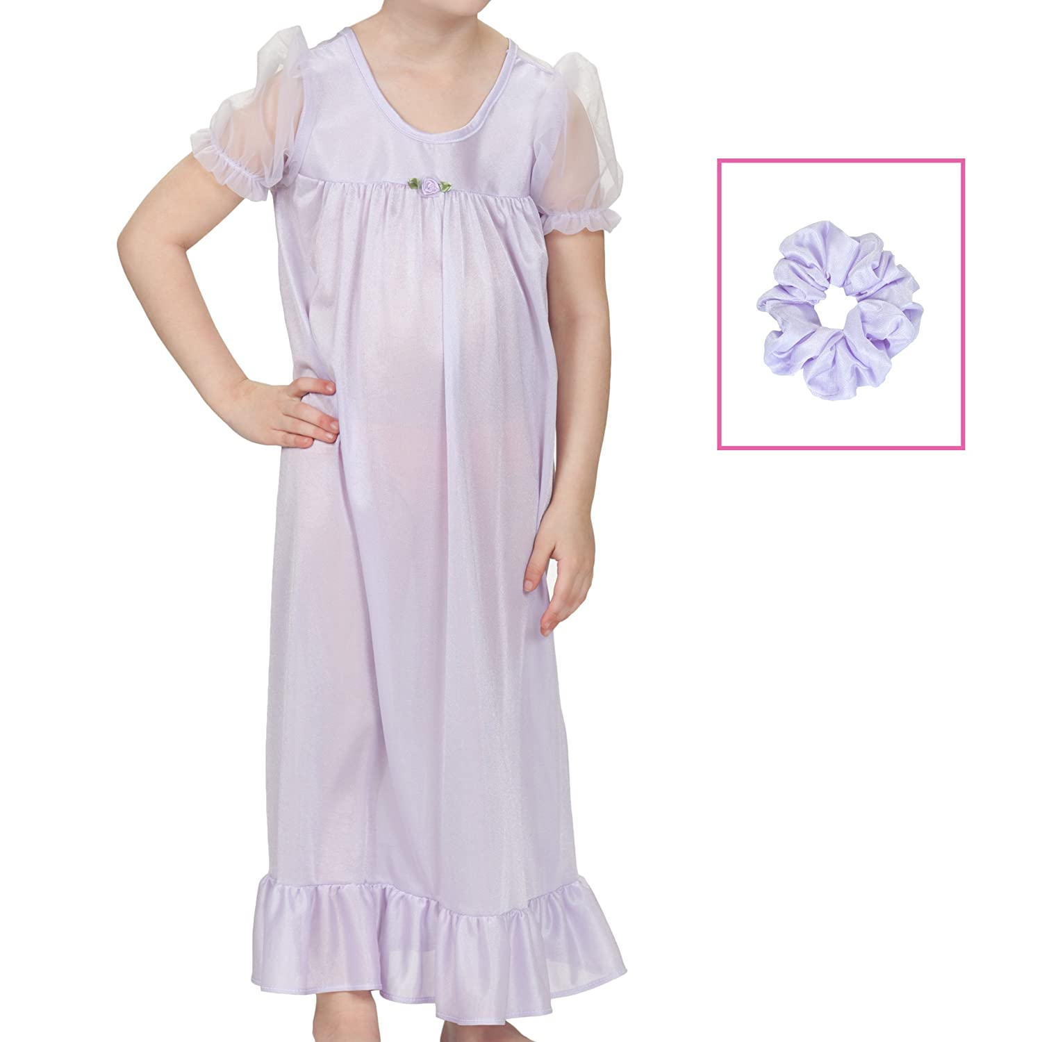 3107bc7e3 Amazon.com  Laura Dare Little Girls Short Sleeve Peignoir Nightgown Robe  Set w Scrunch 2T-6X  Clothing