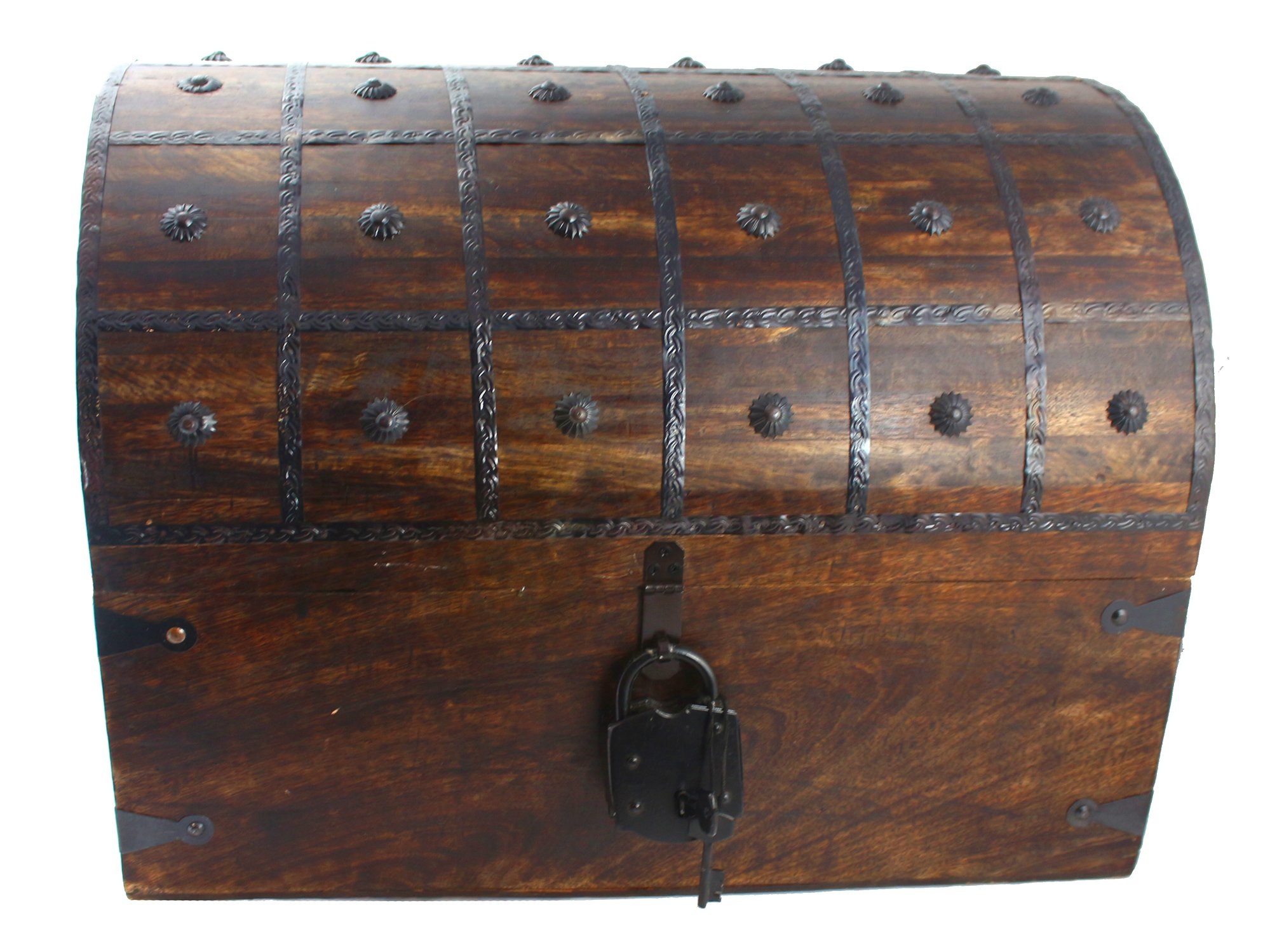 WellPackBox Wooden Pirate Treasure Chest Box With Antique Style Lock And Skeleton Key (Colossus)