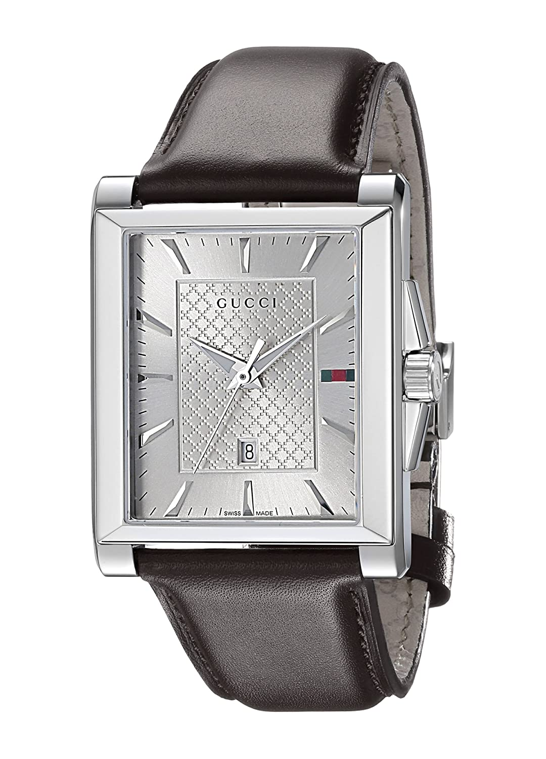 73034d8d90050 Amazon.com  Gucci G-Timeless Rectangle Stainless Steel Men s Watch with  Brown Leather Band(Model YA138405)  Watches