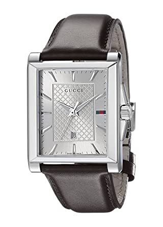 d8548bf6b0f Image Unavailable. Image not available for. Color  Gucci G-Timeless  Rectangle Stainless Steel Men s Watch with Brown Leather ...