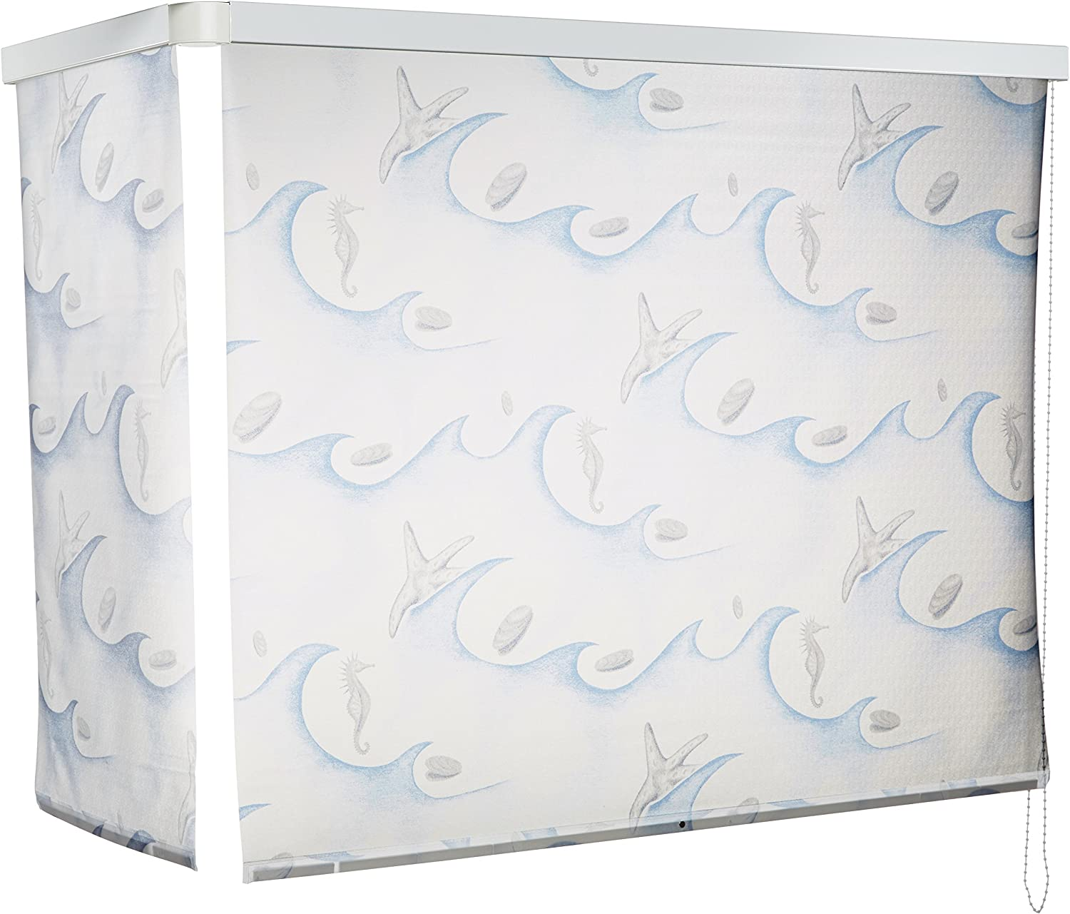 ECO-DuR 4024879002374 - Cortina de Ducha Enrollable (Angular, 137 x 62 cm), diseño oceánico, Color Blanco y Azul: Amazon.es: Hogar