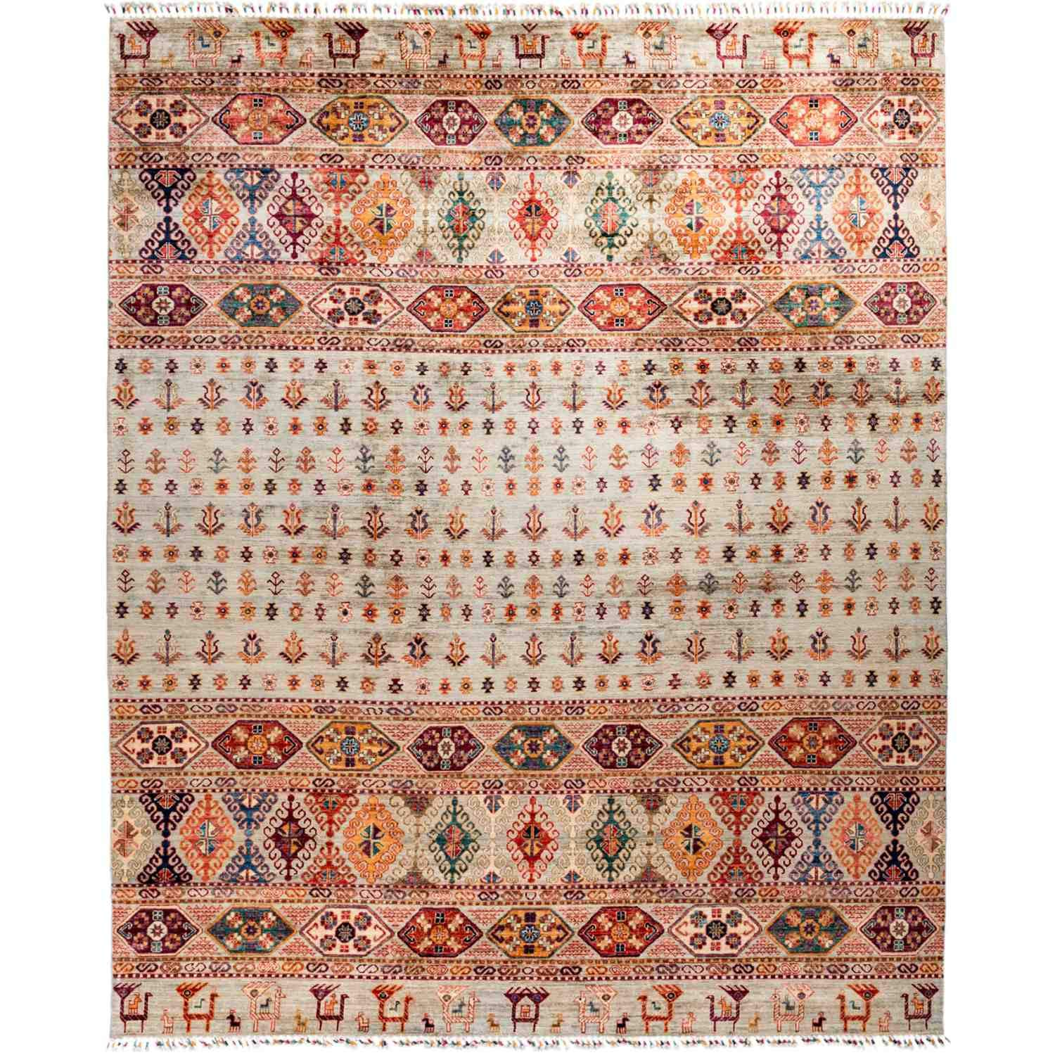 Solo Rugs Tribal Hand Knotted Area Rug 8 4 x 10 1 Bone