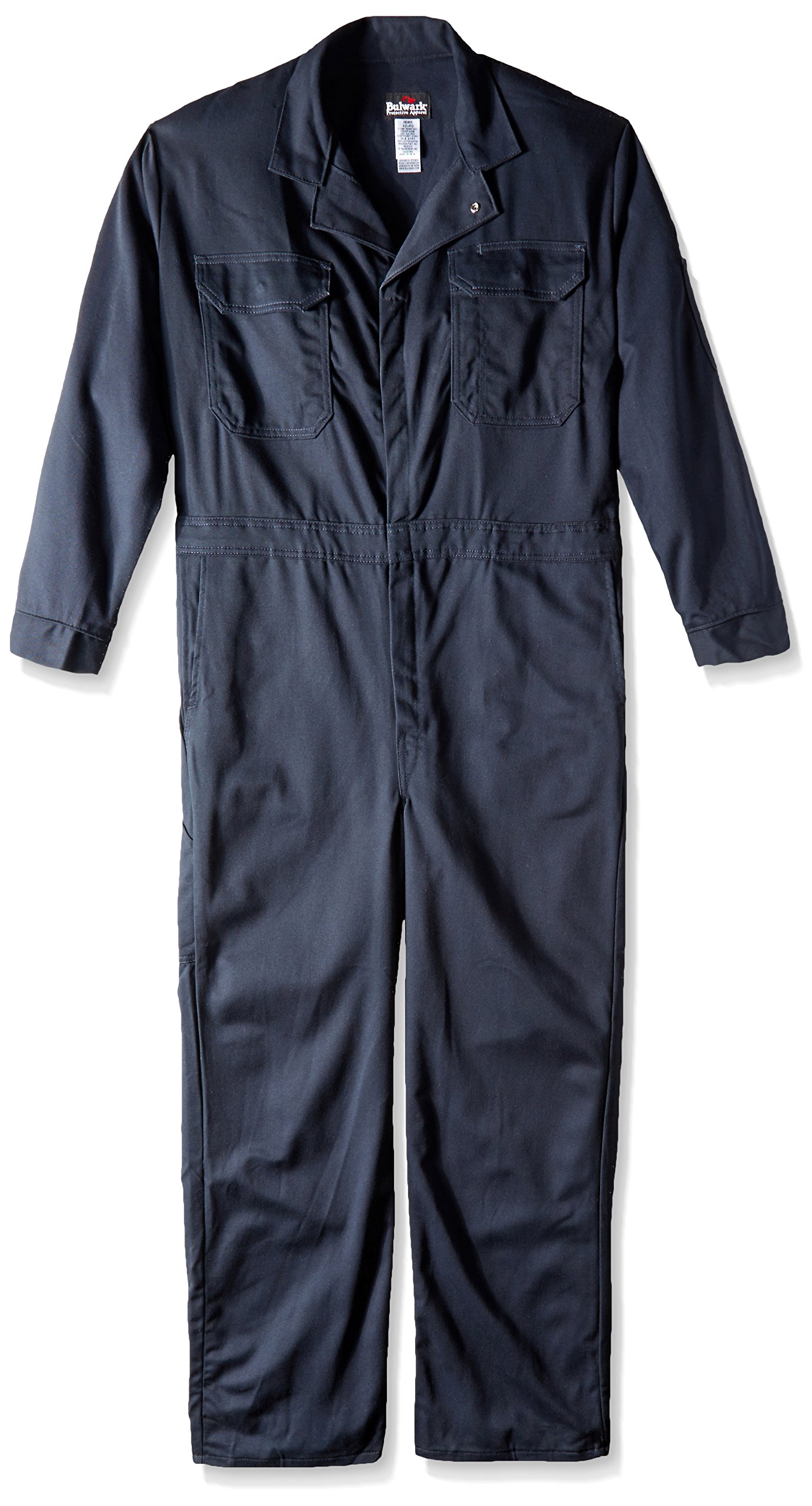 Bulwark Men's Flame Resistant 4.5 oz Nomex IIIA Classic Coverall with Hemmed Sleeves, Navy 52 Long by Bulwark FR (Image #1)