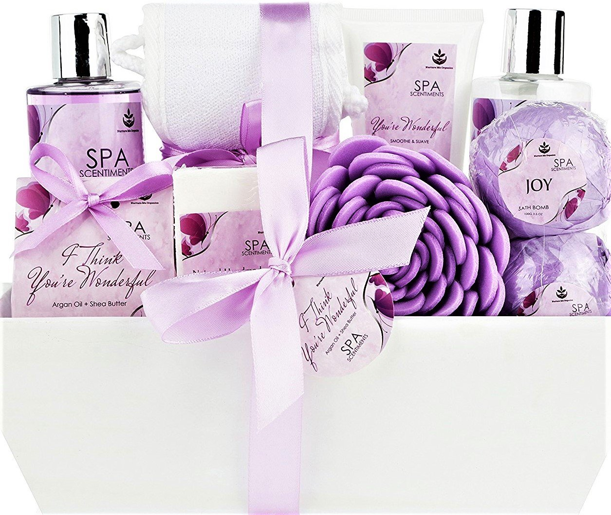Deluxe Spa Basket, ''I Think You're Wonderful'' Gift Basket for Women. Bath & Body 10-Piece Gift Set.