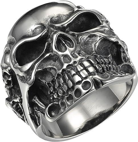 Schmuck Herren-Ring Gotik Totenkopf Schädel Pyramide Edelstahl Schwarz Silber