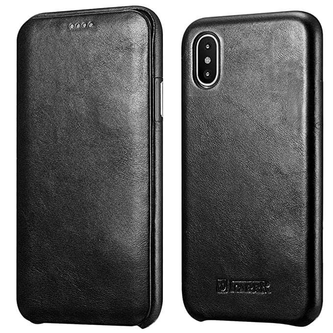 reputable site c590f 854c7 iPhone X Leather Case,Icarercase Genuine Vintage Leather Flip Folio Opening  Cover in Curved Edge Design, Side Open Case with Hidden Magnetic Snap for  ...