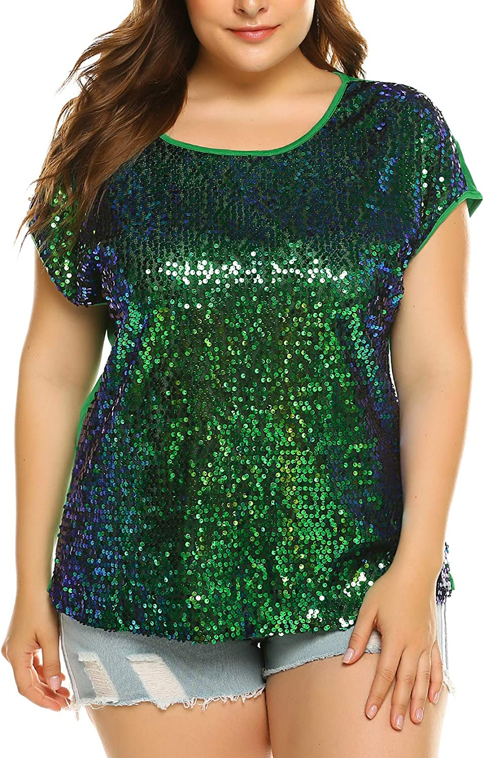 Women/'s Sequined Off Shoulder T-Shirt Short Sleeve Tops Tee Blouse Plus Size
