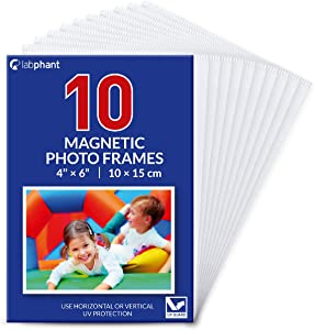 labphant 10 Pack 4x6 Inch Magnetic Picture Frames; Photo Pocket Frames with White Borders for Fridge 4 x 6 Inch Great for Displaying Pics on The Refrigerator
